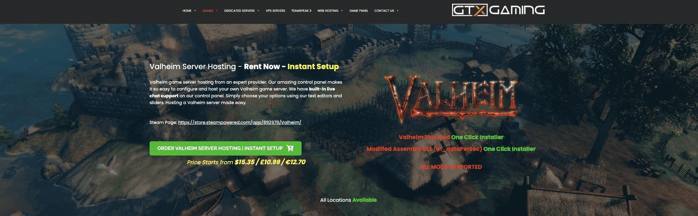 GTX Gaming Valheim Hosting